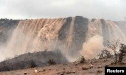 General view after Cyclone Mekunu in Salalah, Oman, May 26, 2018. The storm supercharged the famous waterfall of Wadi Darbat.