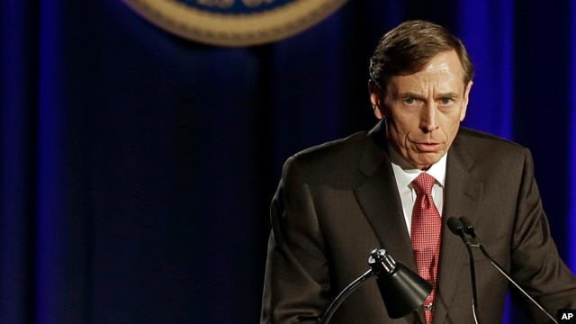 David H. Petraeus, former army general and head of the Central Intelligence Agency, speaks at the annual dinner for veterans and ROTC students at the University of Southern California, in Los Angeles, March 26, 2013.