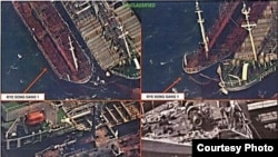 美国财政部公布的2017年10月19日拍摄的图片显示朝鲜船 RYE SONG GANG 1 在进行对接转运,转运物资可能是石油。