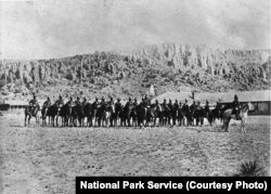 The Ninth Cavalry, the first Buffalo Soldiers to garrison at Fort Davis, on parade in 1875.
