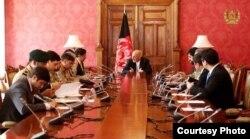 Afghan President Ashraf Ghani hosts visiting Pakistani National Security Adviser Nasser Janjua (left, next to Ghani) for official talks at Dilkusha presidential palace in Kabul, Afghanistan, March 17, 2018. (Courtesy - Afghan government)