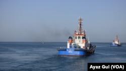 Security boats patrolling the Arabian Sea near Gwadar port.