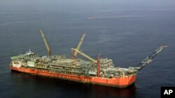 FILE - Shell Bonga offshore oil vessel off the coast of the Niger Delta in Nigeria.