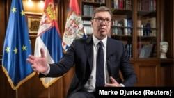 Predsednik Srbije Aleksandar Vučić tokom intervjua za agenciju Rojters