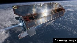 Artist rendering of GOCE in orbit. The spacecraft's orbit is so low that it experiences drag from the outer edges of Earth's atmosphere. (© ESA /AOES Medialab)