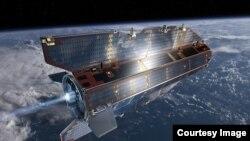 卫星在轨道上飞行。