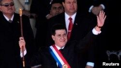 Ông Horacio Cartes trong buổi lễ tuyên thệ nhậm chức tổng thống, ở Asuncion, Paraguay, 15/8/13