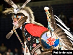 FILE - Pow wow dancer performing at the Smithsonian's National Museum of the American Indian National Pow Wow, Washington, Aug. 11, 2007
