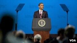 President Barack Obama memberikan pidato di hadapan konferensi organisasi AIPAC di Washington (4/3).