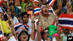Thai protesters chant slogans during an anti-governement demonstration at a turf club in Bangkok, October 28, 2012.