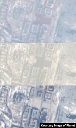 위에서부터 김일성 광장을 찍은 28일 오전 10시56분과 오전 10시17분, 27일 오전 11시21분 위성사진. 27일 광장이 비어있다는 사실을 알 수 있다. (사진제공=Planet)