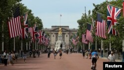 U.S. and British flags stretch along The Mall towards Buckingham Palace in central London in advance of U.S. President Donald Trump State visit to Britain, June 2, 2019.