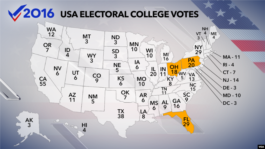 Electoral College Meets On Monday To Choose US President - Electoral college us map