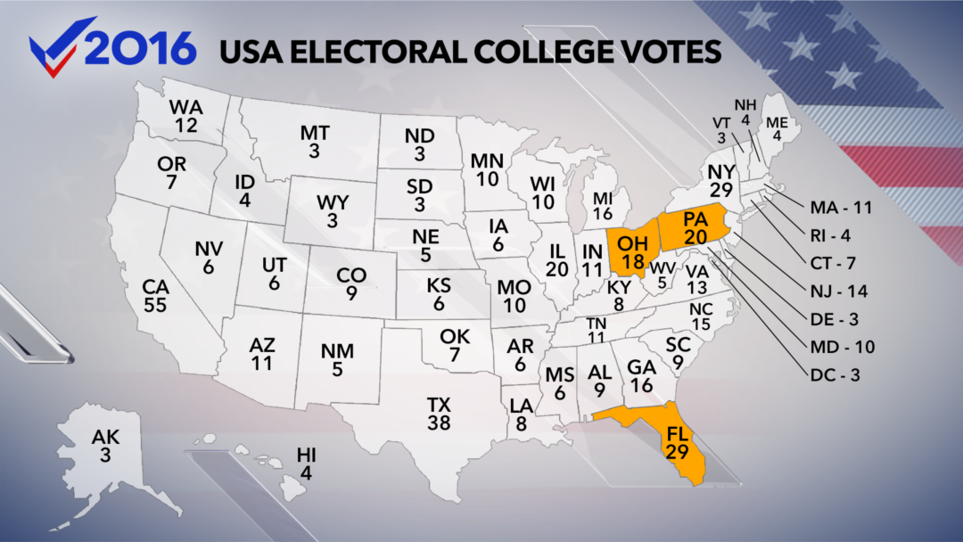How America Elects Its President - Us electoral votes map