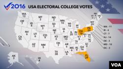 امریکہ ریاستوں میں الیکٹورل کالج کے نمائندوں کی تعداد کا نقشہ۔