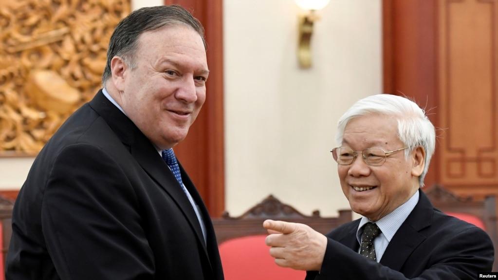 Ông Trọng tiếp ngoại trưởng Hoa Kỳ, Mike Pompeo, tại Hà Nội, hồi tháng Bảy, 2018.