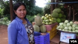 Son Phal, 38, lives in Treng Troyoeng commune and earns her living by selling fruits, Kampong Speu province, Cambodia, June 2, 2017. (Sun Narin/VOA Khmer),