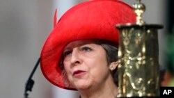 테리사 메이 영국 총리가 12일 런던의 웨스트민스터사원에서 열린 영국 연방기념일 행사에서 연설하고 있다.