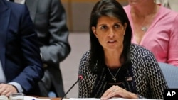United Nations Ambassador from U.S. Nikki Haley address U.N. Security Council meeting, Sept. 28, 2017, at U.N. headquarters.