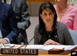 FILE - United Nations Ambassador from U.S. Nikki Haley address U.N. Security Council meeting at U.N. headquarters, Sept. 28, 2017.