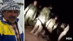 سمت راست فیلمی از درگیری دوشب پیش و سمت چپ عکس «عبود جليزى» کشاورز سیلزده که براثر جراحات درگذشت.