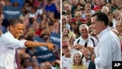 Candidatos Barack Obama e Mitt Romney em campanha em campanha na Virginia e Wisconsin respectivamente