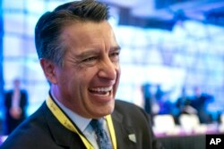 Nevada Governor Brian Sandoval participates in the opening session of the National Governors Association Winter Meeting in Washington, Feb. 20, 2016.