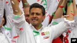 革命制度党候选人培尼亚.涅托6月27日在墨西哥竞选