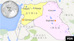 Map showing Raqqa, Syria