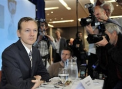 WikiLeaks founder Julian Assange speaking to media in London this October