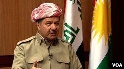 FILE - Kurdish President Massoud Barzani talks to VOA's Persian service in an exclusive interview.