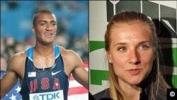 Ðôi vận động viên sắp thành hôn với nhau -- Ashton Eaton (trái), người Mỹ, và Brianne Theisen, người Canada, sẽ đi tranh tài Olympic London dưới hai màu cờ tổ quốc khác nhau, và đều mang hy vọng mang về huy chương cao nhất.