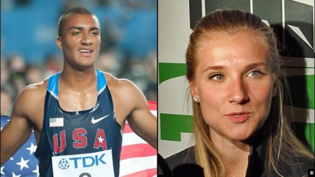 Olympic hopefuls American Ashton Eaton and Canadian Brianne Theisen are hoping to compete for gold for their respective countries, but have already won the affection of one another. Photos by Erik van Leeuwen/ Wikimedia Commons and Tom Banse.