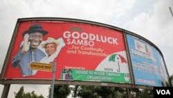 Bango likimwonyesha rais Goodluck Jonathan mjini Abuja, Nigeria. (Chris