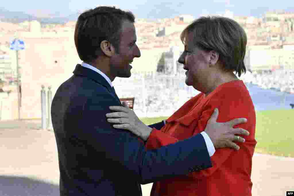 دیدار امانوئل ماکرون، رئیس جمهوری فرانسه با آنگلا مرکل، صدراعظم آلمان در شهر مارسی در جنوب فرانسه