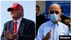 រូបផ្គុំ៖ ប្រធានាធិបតីសហរដ្ឋអាមេរិកលោក Donald Trump និងអតីតអនុប្រធានាធិបតី Joe Biden ធ្វើយុទ្ធនាការឃោសនាបោះឆ្នោតនៅរដ្ឋ Florida ថ្ងៃទី២៩ ខែតុលា ឆ្នាំ២០២០។