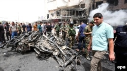 지난해 6월 이라크 바그다드 동부에서 발생한 자살차량폭탄 현장. (자료사진)