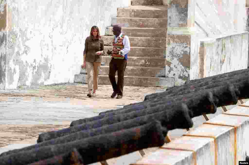 U.S. first lady Melania Trump visits Cape Coast castle, Ghana, October 3, 2018.