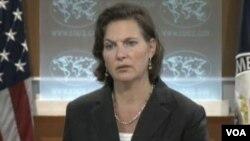 美国国务院发言人努兰(美国之音视频截图)
