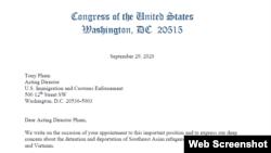 Dân biểu Hoa Kỳ Alan Lowenthal cùng với 29 dân biểu liên bang khác vừa viết thư kêu gọi quyền Giám đốc Cơ quan thực di Di trú và Hải quan (ICE) Tony Phạm chấm dứt việc bắt giam và trục xuất các di dân tị nạn gốc Đông Nam Á.