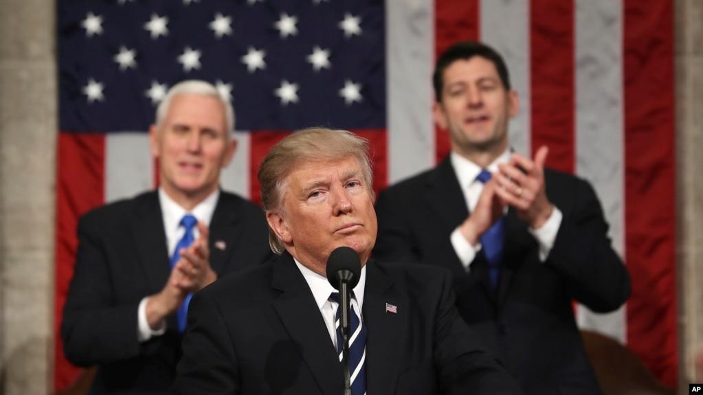 Tổng thống Donald Trump phát biểu trước lưỡng viện Quốc hội Hoa Kỳ, ngày 28/2/2017.