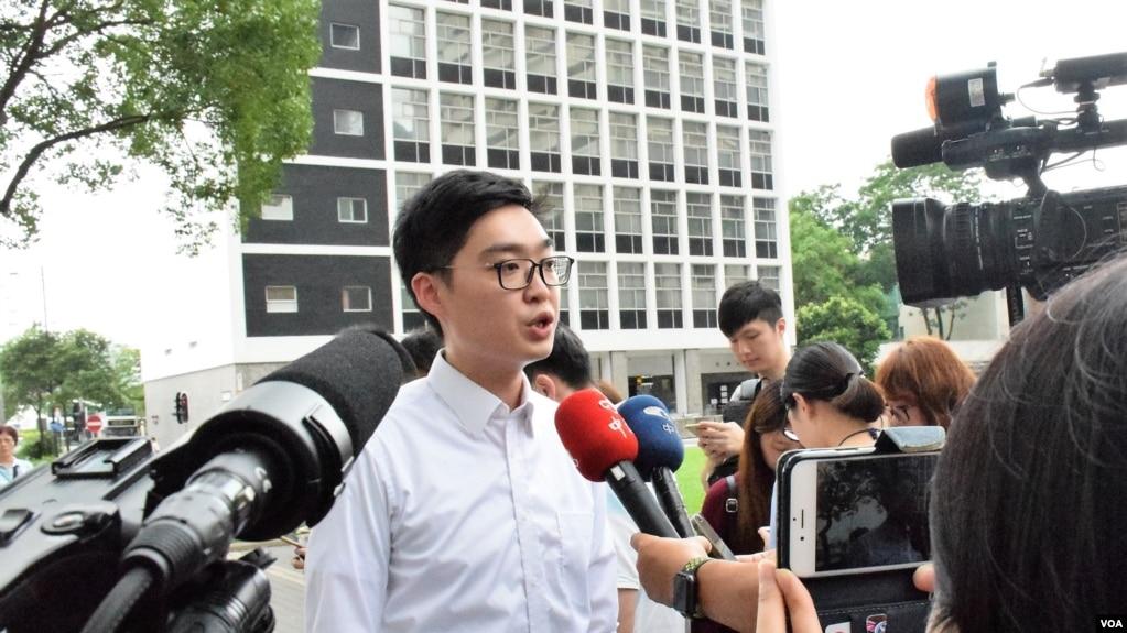 主张港独的香港民族党召集人陈浩天星期一举行记者会(VOA汤惠芸摄)