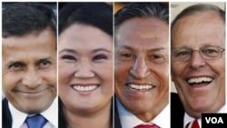 Cuatro de los candidatos que encabezan las encuestas, de izq. a der.: Ollanta Humala, Keiko Fujimori, Alejandro Toledo y Pedro Pablo Kuczynski.