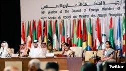 بھارتی وزیر خارجہ سشما سوراج متحدہ عرب امارات میں منعقدہ او آئی سی کے اجلاس میں تقریر کر رہی ہیں۔ یکم مارچ 2019