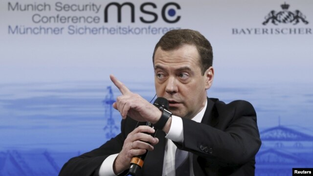 Russian Prime Minister Dmitry Medvedev answers a question from the audience at the Munich Security Conference in Munich, Germany, Feb. 13, 2016.