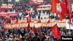 1일 노동절을 맞아 러시아 모스크바에서 공산당원들이 대규모 집회를 열었다.