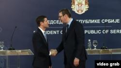Pomoćnikom američkog državnog sekretara za Evropu i Evroaziju Wess Mitchell i predsjednik Srbije Aleksandar Vučić, tokom sastanka u Beogradu, 14. marta 2018.