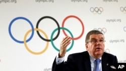 International Olympic Committee (IOC) President Thomas Bach attends a news conference after an Executive Board meeting in Lausanne, Switzerland, Dec. 8, 2016.