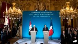 ျပင္သစ္သမၼတ Francois Hollande (ယာ) နဲ႔ အီရတ္သမၼတ Fouad Massoum တို႔အား IS အစၥလာမ္အစြန္းေရာက္ေတြတိုက္ဖ်က္ေရး ႏုိင္ငံတကာညီလာခံမွာေတြ႔ရစဥ္။ (စက္တင္ဘာ ၁၅၊ ၂၀၁၄)