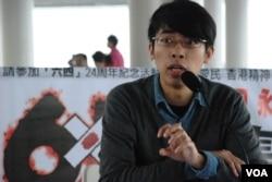 香港專上學生聯會秘書長陳樹暉不認同參與佔領中環行動有年齡門檻(美國之音湯惠芸)